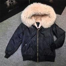 2017 Fashion waterproof black zipper outwear light pink fur inside coats winter women bomber jacket