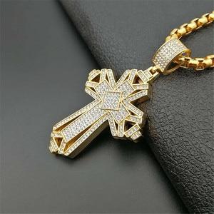 Image 2 - 2019 neueste Iced Out Edelstahl Big Kreuz Anhänger Halskette für Männer Gold Farbe Christian Cruzar Halskette Religiöse Schmuck
