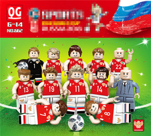 12pcs/lot Building Blocks Figures brick DIY toys Compatible Legoing Sports World Cup Football Team For Russia Occupations Gift