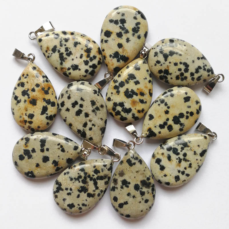 Wholesale 12PCS Natural Spots Stone Pendants Water Drop Pendant Charms Fit Necklaces Jewelry Making