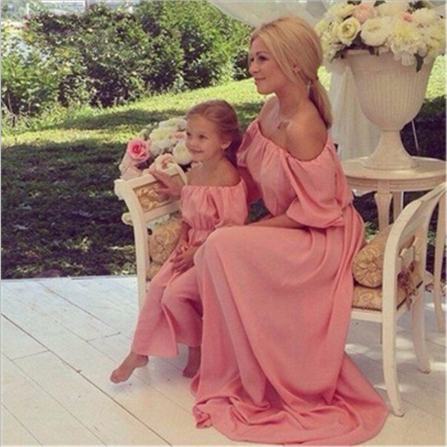 Mère et fille vêtements à manches courtes T-shirt robes famille correspondant tenues bébé fille vêtements filles vêtements longue robe