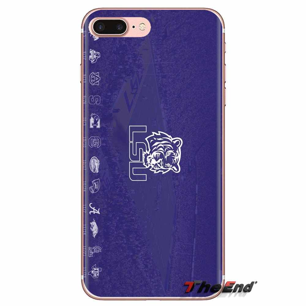 Silikon Telepon Tas PENUTUP UNTUK Samsung Galaxy S3 S4 S5 Mini S6 S7 Edge S8 S9 S10 Plus Note 3 4 5 8 9 LSU Tigers Tim Sepak Bola Logo