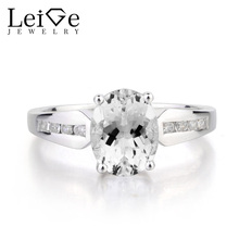 Leige Jewelry Natural White Topaz Ring Wedding Ring Oval Cut Gemstone Ring 925 Sterling Silver Ring November Birthstone for Lady