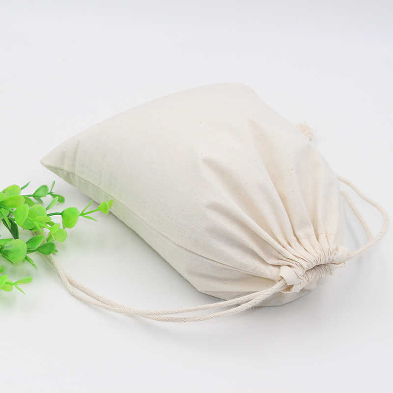2 Pcs Kapas Kantong Grosir Tas Penyimpanan Logo Dicetak Tas Serut Makanan Kemasan Tas Natal Hadiah Kantong