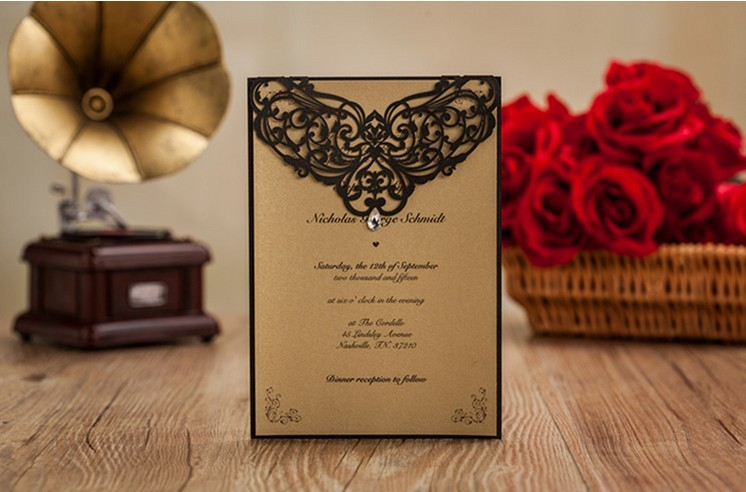 black wedding card