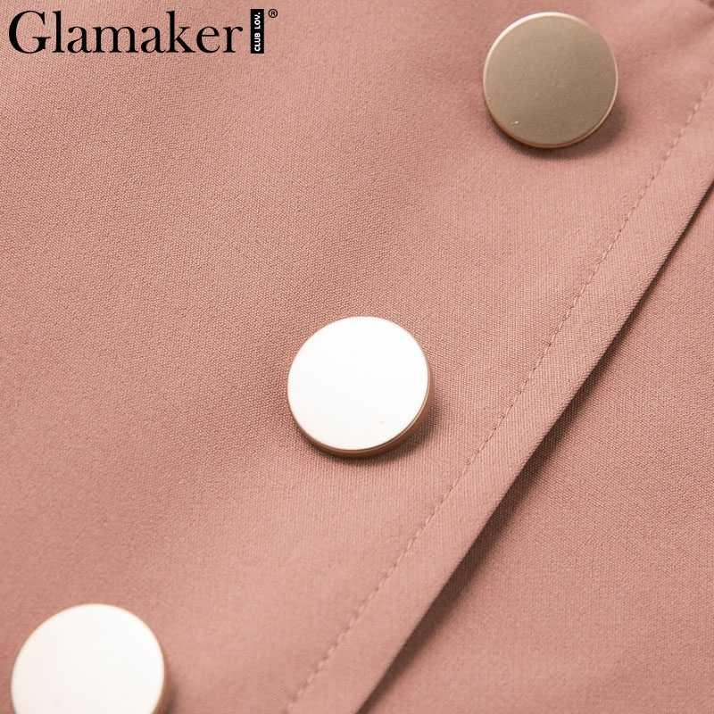Glamaker прозрачный сетчатый сексуальный комбинезон для женщин комбинезон с отложным воротником Летний комбинезон короткий лоскутный розовый комбинезон