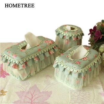 HOMETREE 1Pc Garden Lace Tissue Box Home Fashion Tissue Box Paper Pumping Tissue Cover Napkin Flannelette Lace Tissue Box H483 flower print tissue cover