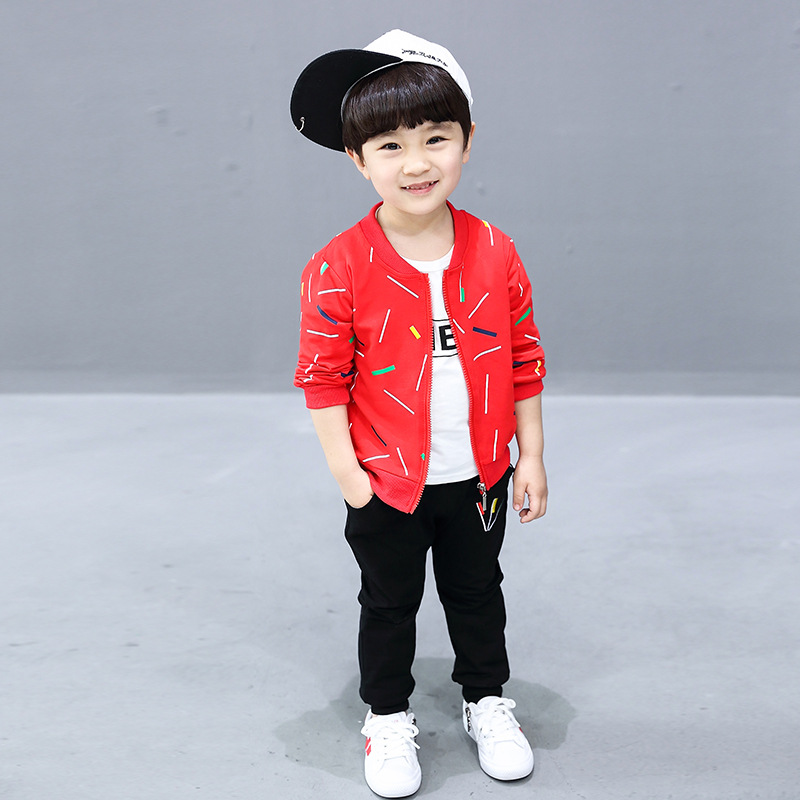 2018 Boys Model Cartoon Zipper New Spring Autumn Long Sleeved + T - Shirt + Trousers 3 Sets of Child Suit For 1~4 Years 2017 new spring women maternity t shirt