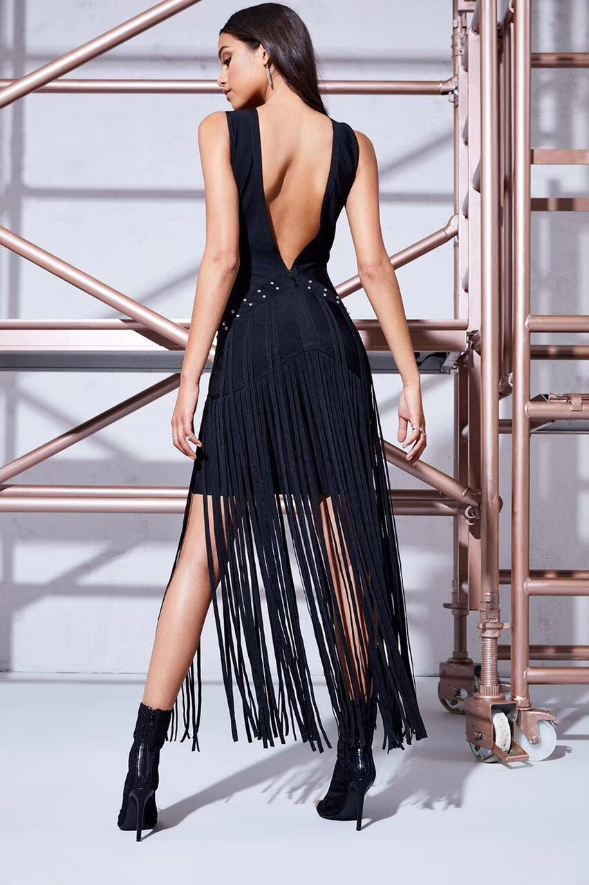 Mujeres Sexy Tobillo Caliente Partido Del 2017 Tassel Negro Rosa Elegante Bodycon longitud Vendaje Vestido Largo rrwZdq