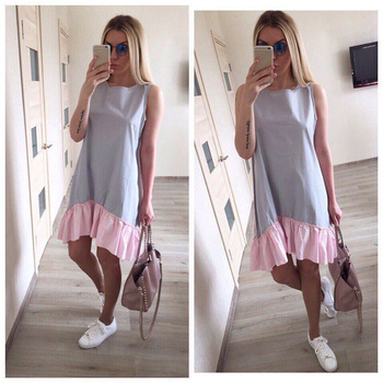 Summer Dresses 2018 Casual Loose Patchwork Sleeveless Ruffles O-Neck Straight Dress Fashion Women Dress Ukraine Vestidos