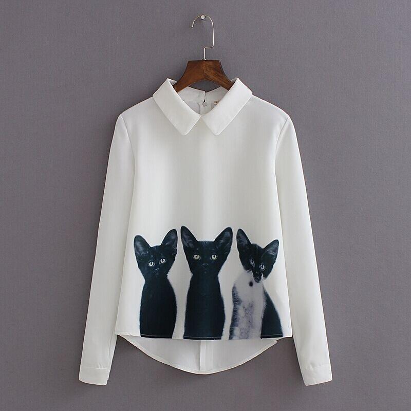 Drie Katten Tops Lange Mouwen Turn-down Kraag Casual Blouse Wit Katoenen Shirts 2017 Hot Ontwerp Nieuwe Cat Koning Herfst Stijl S-l Verfrissend En Weldadig Voor De Ogen