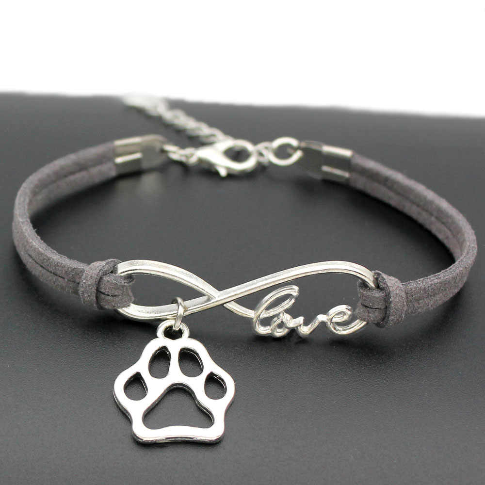 1pcs infinity handmade Women Stylish  Love Pets Dogs Lover Cat Animal Bear Paw Charms Pendant Bracelet Friendship Gift 7436