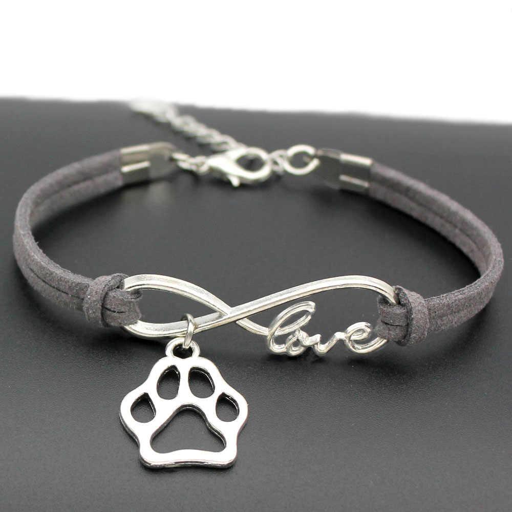 1pcs infinity handmade Women Stylish  Love Pets Dogs Lover Cat Animal Bear Paw Charms Pendant Bracelet Friendship Gift 7436