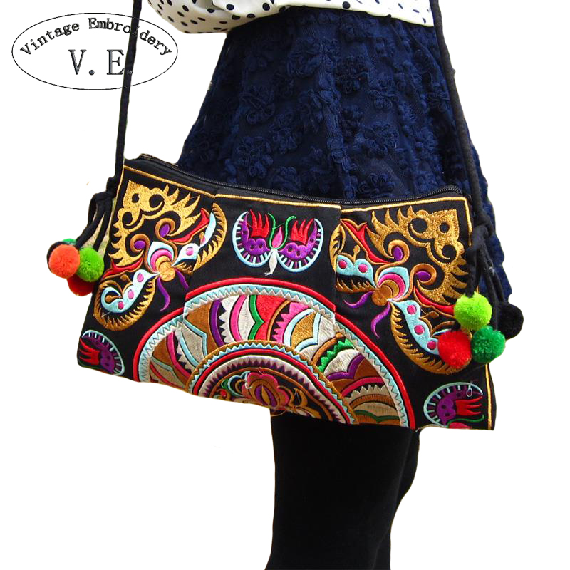 Vintage Embroidery Women Crossbody Bags Ethnic Boho Shoulder Messenger Bag Women's Day Clutch Small Handbag free shipping vintage hmong tribal ethnic thai indian boho shoulder bag message bag pu leather handmade embroidery tapestry 1018