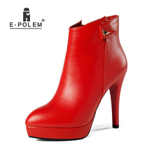 Women Boots 2018 Female Leather Boots High Heel Genuine Leather Side Zip Ankle Boots Ladies Round Toe Short Warm Velvet Booties hot new square toe women ankle boots black patent leather short booties high heel side zip luxury brand super star runway shoes