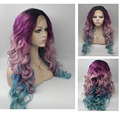 2016 New fashion body wave purple root  to pink blue ombre wig synthetic lace front wig high quality  women ombre  wig