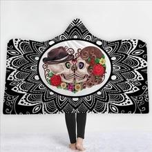 купить 3D Skull Hooded Towel Flannel Love Skulls Bath Towel With Hood Adult Wearable Beach Wrap Blanket 1pc по цене 1752.03 рублей