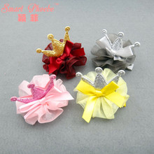 20pcs/4C Fashion Cute Glitter Bowknot Crown Girls Hairpins Solid Kawaii Gauze Tiaras Hair Clips Kids Hair Accessories