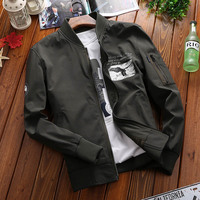 Envmenst New 2017 New Style Casual Stand Collar Jacket Fashion Men Spring Autumn Animal Printed Zipper