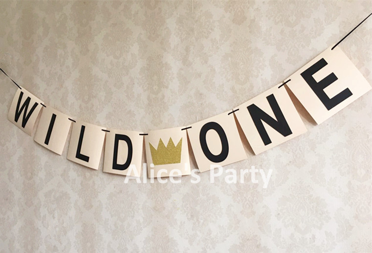 Handmade WILD ONE Theme Party Decoration Gold Imperial Crown Banner High Chair Bunting Boy 1st Birthday Flag Photo Shoot In Banners Streamers Confetti