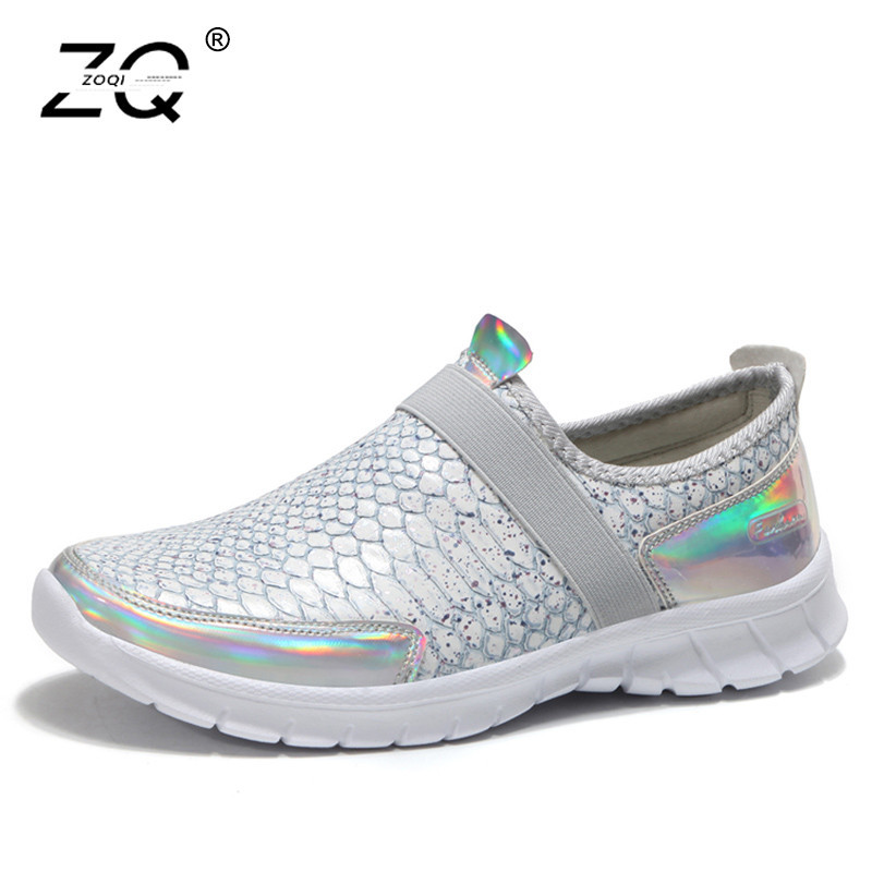 ZOQI Autumn Shoes Women Flats Sneakers Flat Ladies Shoes Leather Flat Shoes Women Slip On Loafers Zapatos Mujer Plus Size 36-42 цена