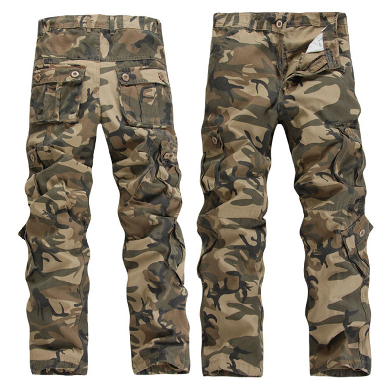 Men Casual Trousers Masculine Camouflage Overalls Male Multi-pocket Trousers Loose Plus Size Military Pants