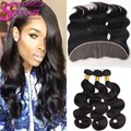 7A Grade Lace Frontal Closure With Bundles Pre Plucked Frontal Peruvian Body Wave Ear To Ear Lace Frontal Closure With Baby Hair