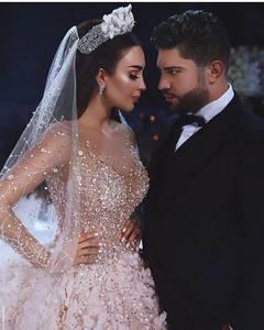 Image 4 - Amanda Design Dubai Royal Long Sleeve Lace Applique Crystal Flowers Wedding Dress Luxury