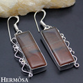 Hermosa Jewelry Natural rectangle Brown Jasper Dangling GEMS 925 sterling silver Retro fashion Earrings HF957