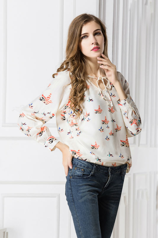 New Lady Fashion Women Blouses Print Blusas Femininas 2017 Chiffon Blouse Long Sleeve Shirt Women Tops Roupas Femininas Camisas Mujer