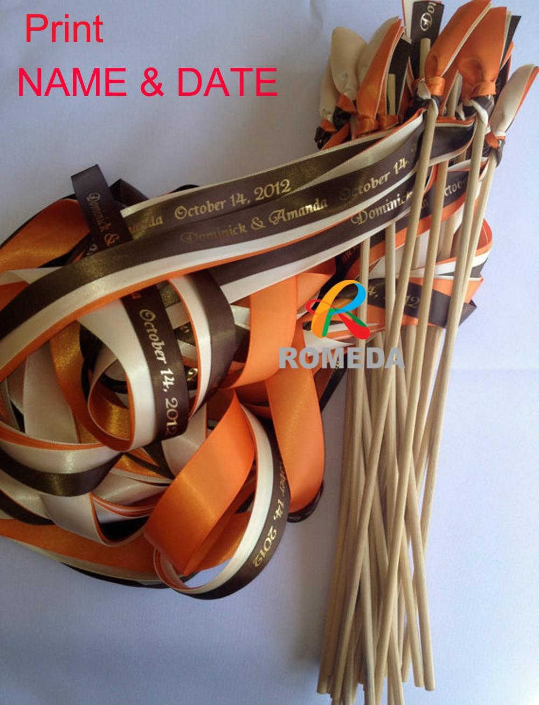 50pcslot Personalized Wedding Ribbon Stick Ribbon WandsTwirling Streamers