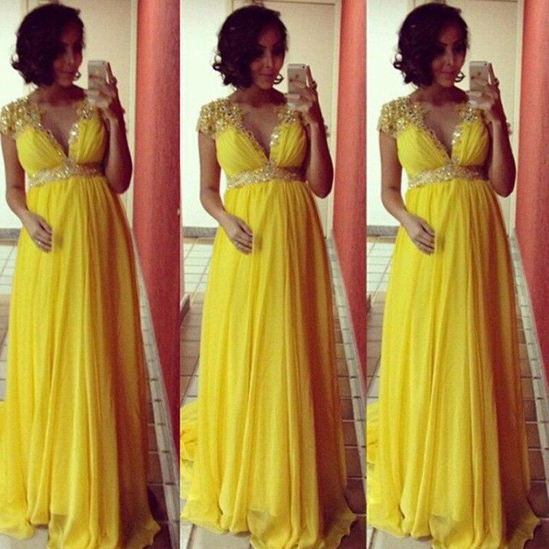 2016 New Fashion Yellow chiffon evening dress Cap Sleeve long Evening Dresses Formal Dresses Plus Size
