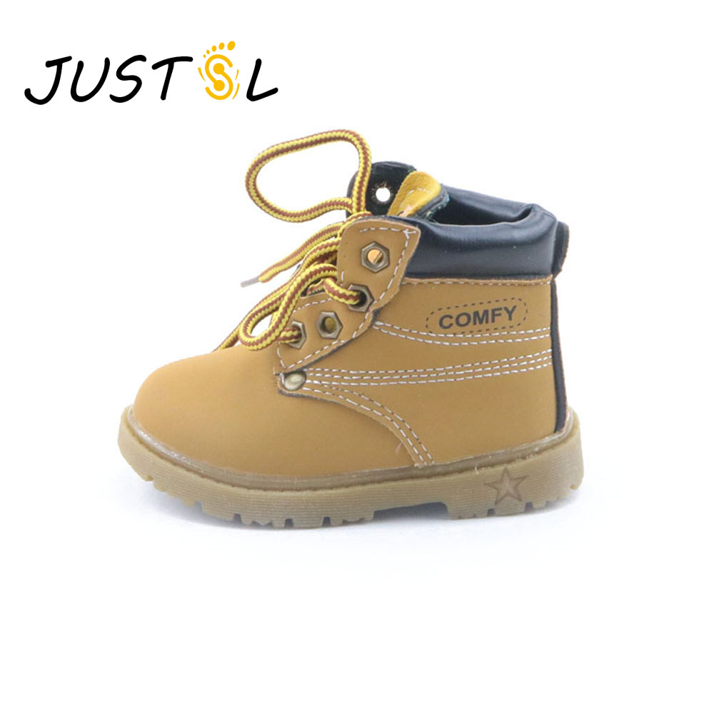 JUSTSL Autumn winter children's safty quality casual warm cotton shoes for boys girls solid Martin boots kids snow boots