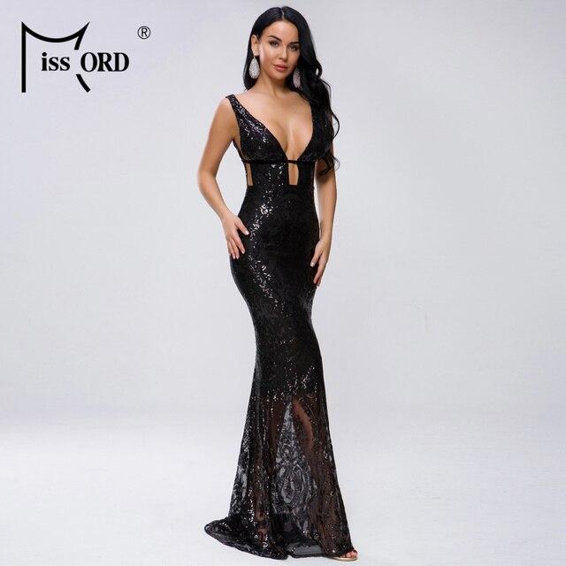 Missord 2019 Women Sexy Deep V Off Shoulder Hollow Out Sequin Dresses Female Elegant Maxi Dress  FT19463 2