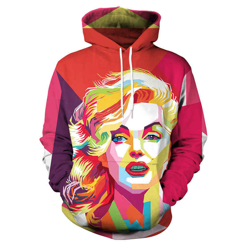 0cd2d0c00e93 New 3D Marilyn Monroe Hoodie Sweatshirt Men Women Long-Sleeve Autumn Winter Hoodies  Jacket Unisex
