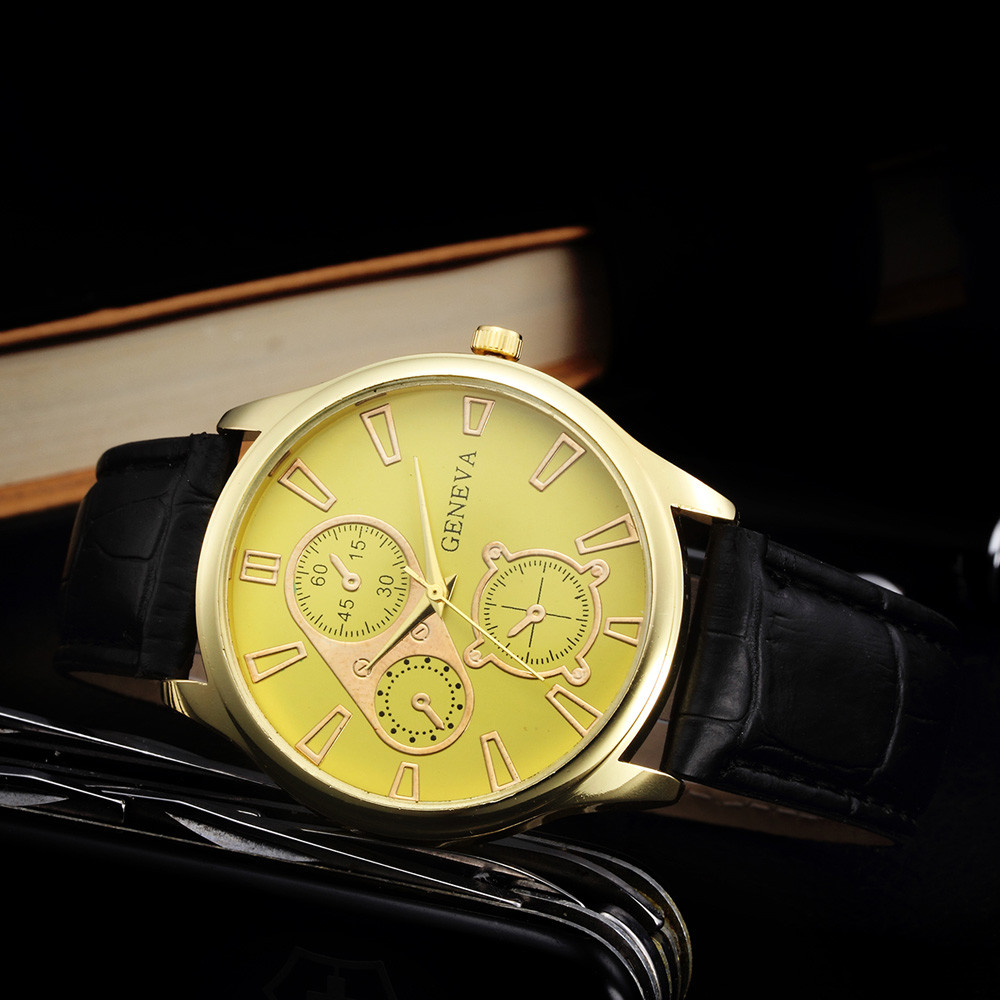 Geneva Watch Yellow Dial with Leather Band