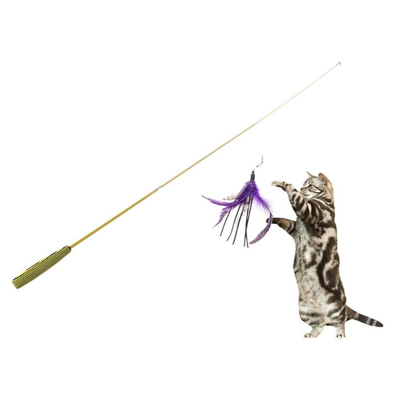 Cat Toys Funny Cat Telescopic Rod Stick with 5pcs Feather Replacement Heads Toys for Cats Kitten Training Interactive Toy