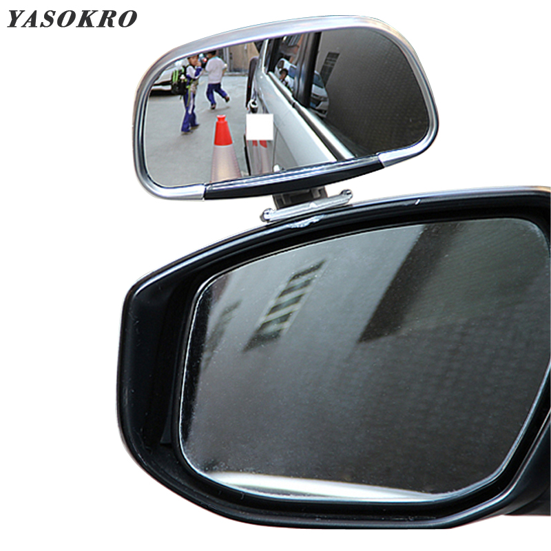 YASOKRO Car Blind Spot Mirror 360 Degree Rotation Adjustable Rear View Mirror Wide Angle Lens for Parking Auxiliary Mirror