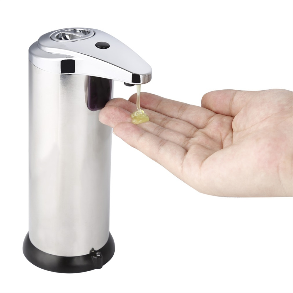 2017 280ml Automatic Sensor Soap Dispenser Base Wall Mounted Stainless Steel Touch-free Sanitizer Dispenser For Kitchen Bathroom