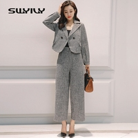SWYIVY Women Blazer Jacket Coat Slim Wide Leg Pants Suits Autumn 2018 Ladies Jacket Coat Double Breasted Plaid Casual Blazer XXL
