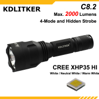 KDLITKER C8.2 C8 Cree XHP35 HI White / Neutral White / Warm White 2000 Lumens 5 Mode LED Flashlight Black ( 1x18650 )