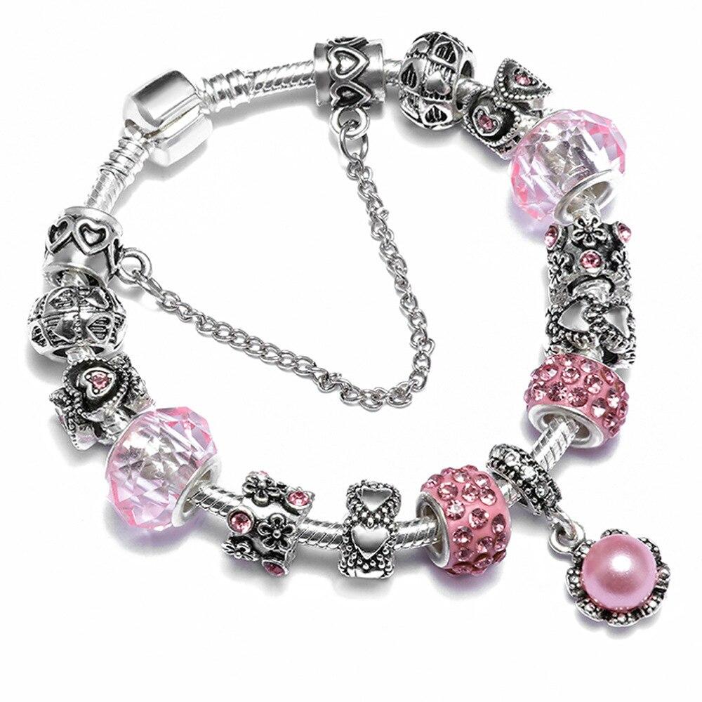 ESB 2018 New Hot Selling Hearts Beads Antique Snake Chain Charm Bracelets Bracelets For Women Friendship Bracelet Femme B0155