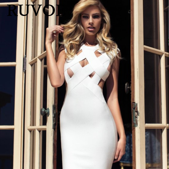 Beige red white yellow Newest Celebrity Hollow Out Sleeveless Knee Length Rayon Bandage Dress Cocktail Party Bodycon Dress SH-05