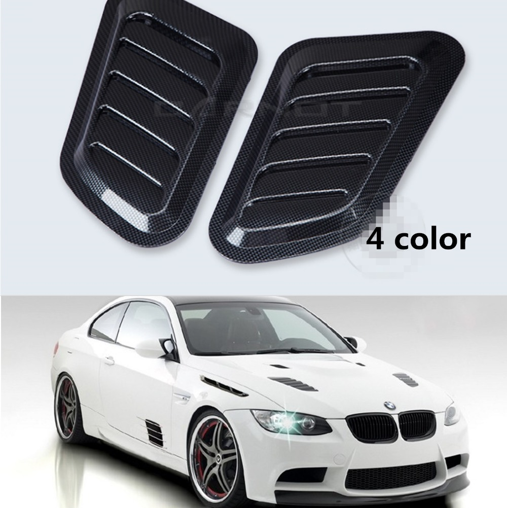 2 Pcs Car Styling Stickers Abs Car Decorative Air Flow Intake Scoop Turbo Bonnet Vent Cover Hood