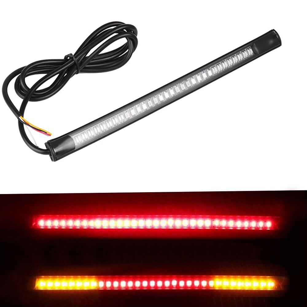 Motosiklet lambası Bar şerit kuyruk fren dur dönüş sinyali plaka işık entegre 3528 SMD 48 LED kırmızı Amber renk| |   -
