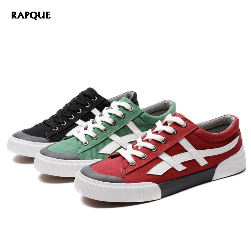 Vulcanize Shoes Men Casual Sneakers Man Canvas Shoes Board Footwear Male Walking Trainers Green Red Black Skillful Manufacture Men's Shoes
