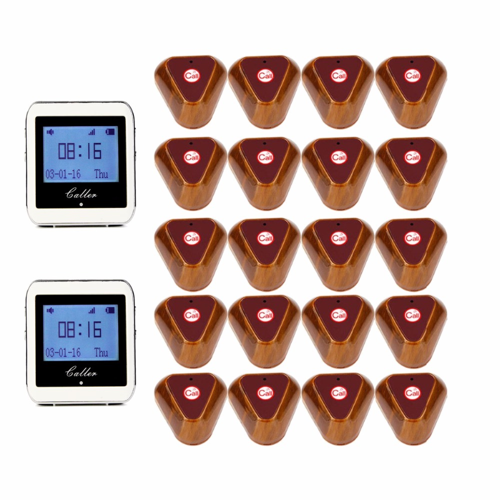 Wireless Restaurant Coaster Pager 2 Watch Calling +20 pcs Button Receiver Pager System for Hospital Waiter 433MHz F3288B best selling korea natural jade heated cushion tourmaline health care germanium electric heating cushion physical therapy mat