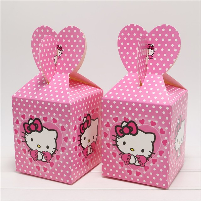 6Pcs Lot Cartoon Hello Kitty Theme Party Birthday Gift Baby Shower Candy Box Paper