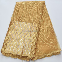 Nigerian French Tulle Lace Fabric Gold Color African Cord Lace High Quality Guipure Lace Fabric With