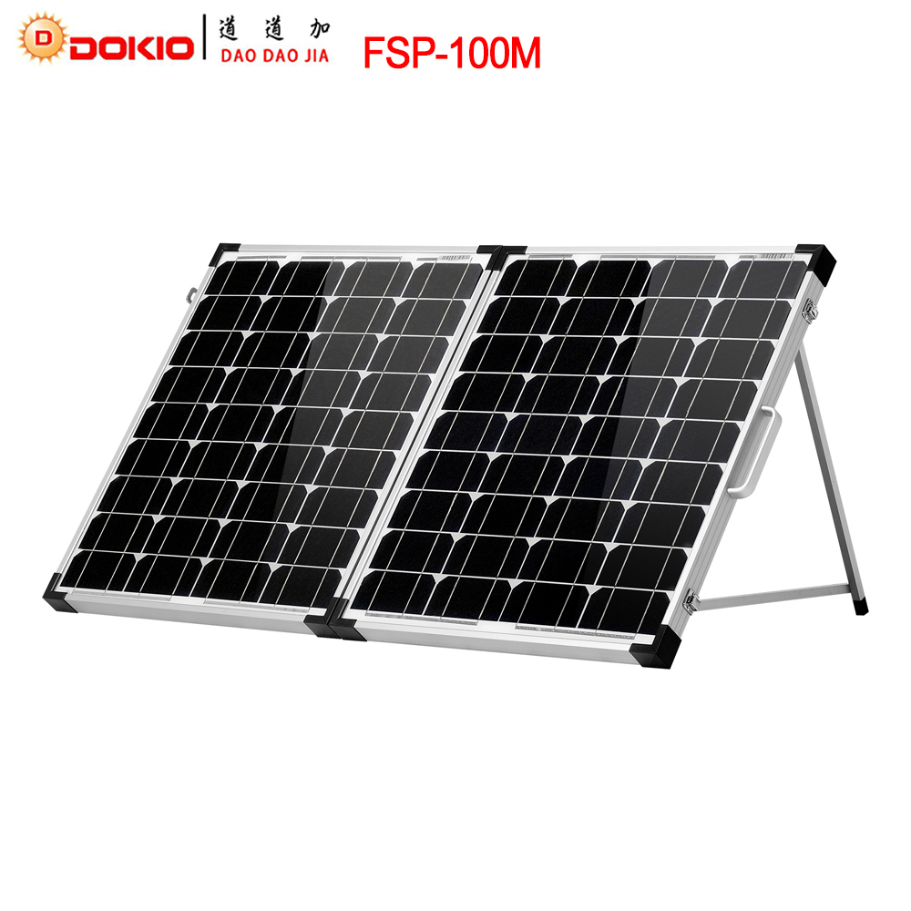 Dokio Brand 100W (2Pcs x 50W) Foldable Solar Panel China 18V +10A 12V/24V Controller Solar <font><b>Battery</b></font> Cell/Module/System Charger